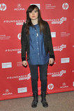 Ellen Page kept her outfit simple with a slight nod to tougher staples.