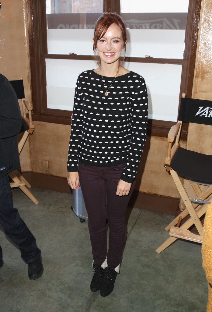 Ahna O'Reilly put a super-cute spin on her outfit, adding a printed sweater and fleece-lined booties to the mix.