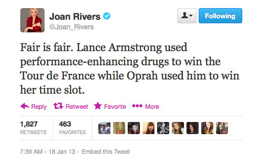 Joan Rivers takes a stab at the Lance Armstrong scandal.