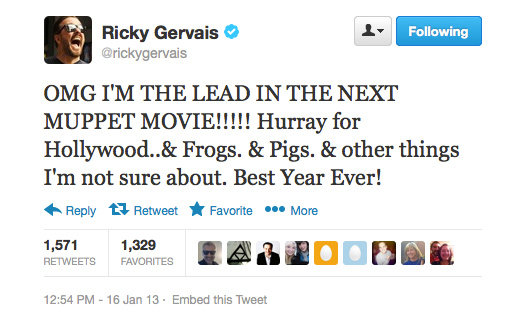 This might be the first time Ricky Gervais hasn't used sarcasm on Twitter!