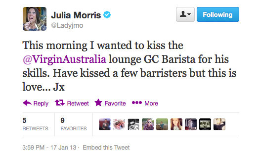 A good coffee goes a loooong way, just ask Julia Morris.