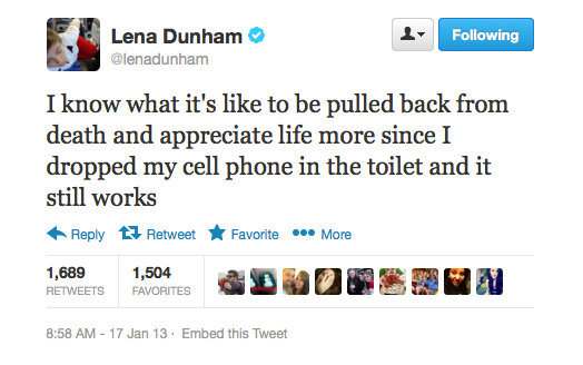 Lena Dunham knows what's important in life.
