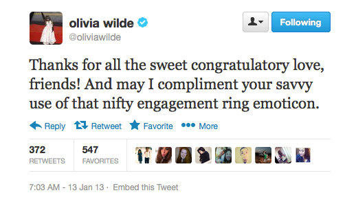 Congratulations to Olivia Wilde on her engagement to Jason Sudeikis!