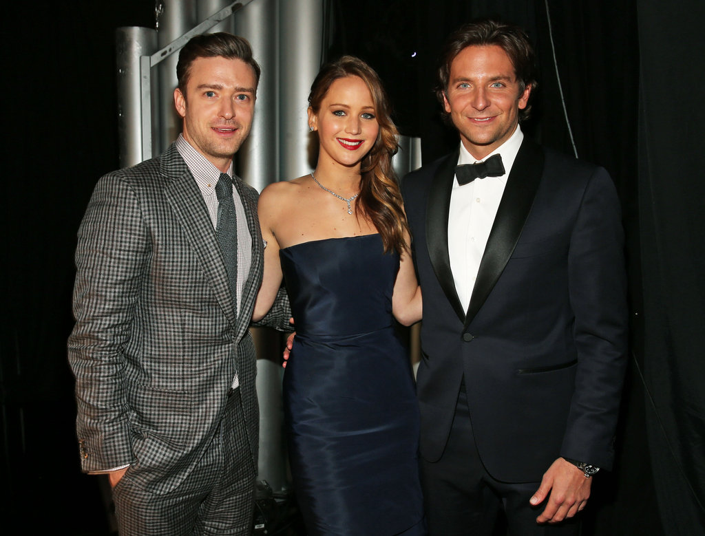 Justin Timberlake met up with Jennifer Lawrence and Bradley Cooper backstage.