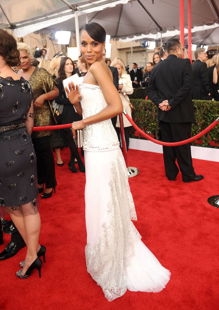 Kerry Washington Sparkles in White at the SAG Awards