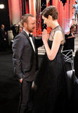 Aaron Paul and Anne Hathaway talked during a break from the show.