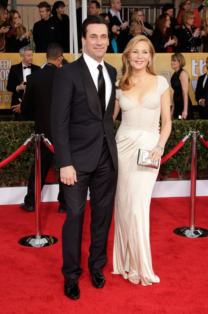 Jon Hamm posed with partner Jennifer Westfeldt at the SAG Awards Sunday.