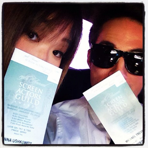 Jenna Ushkowitz en route to the SAGs. Source: Instagram user jennaushkowitz