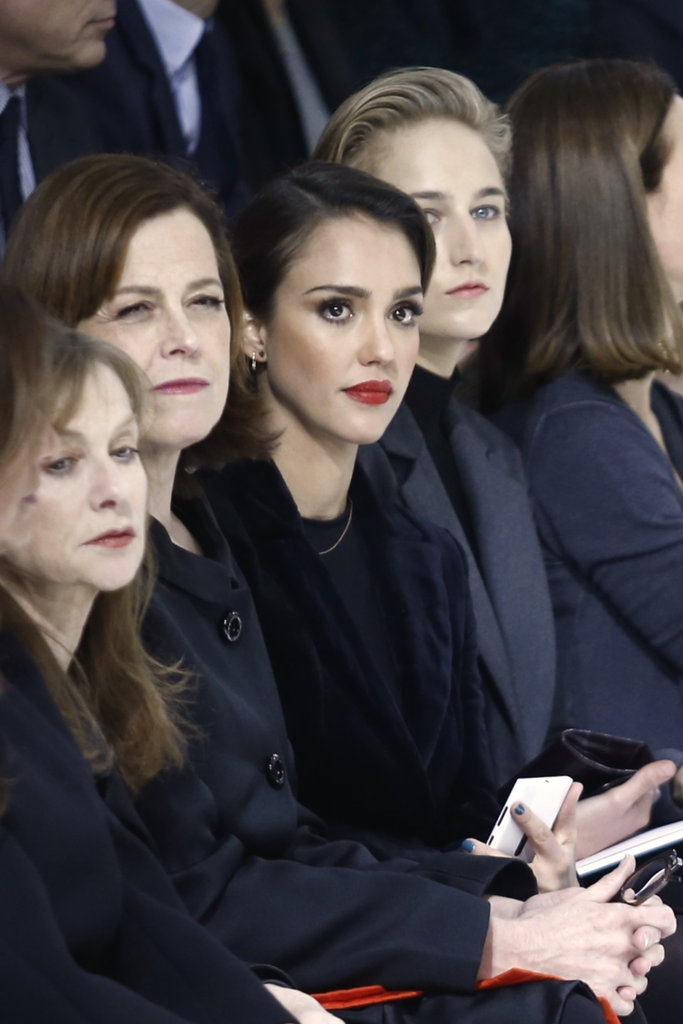 Jessica Alba sat front row at Christian Dior.