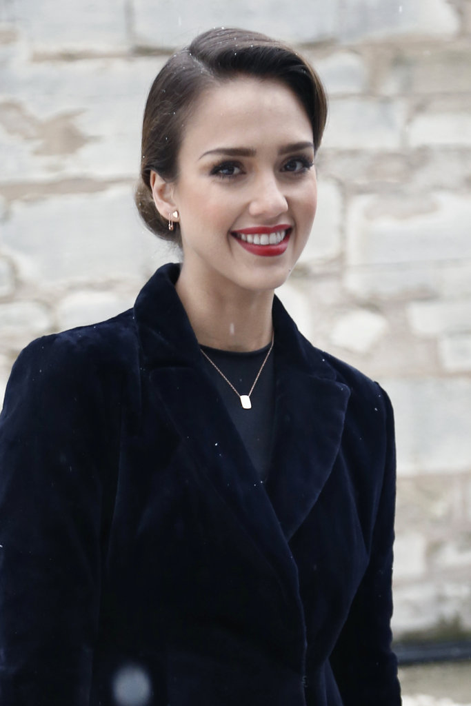 Jessica Alba wore her hair back for the fashionable outing.