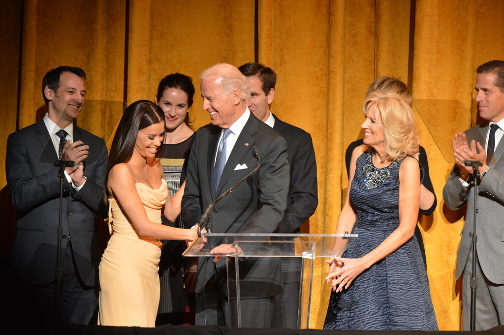 Actress and activist Eva Longoria took the stage to speak with Vice President Joe Biden and Jill Biden during the Latino Inaugural 2013 event.