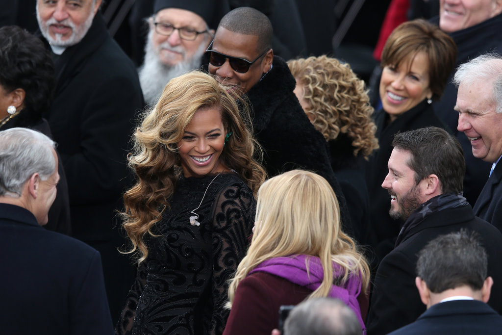 Inauguration performers Beyonce and Kelly Clarkson smiled at the presidential inauguration Monday.