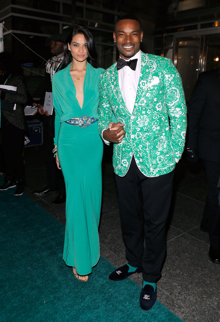 Models Shanina Shaik and Tyson Beckford matched in their bright seafoam-green hues at the Hip-Hop Inaugural Ball.