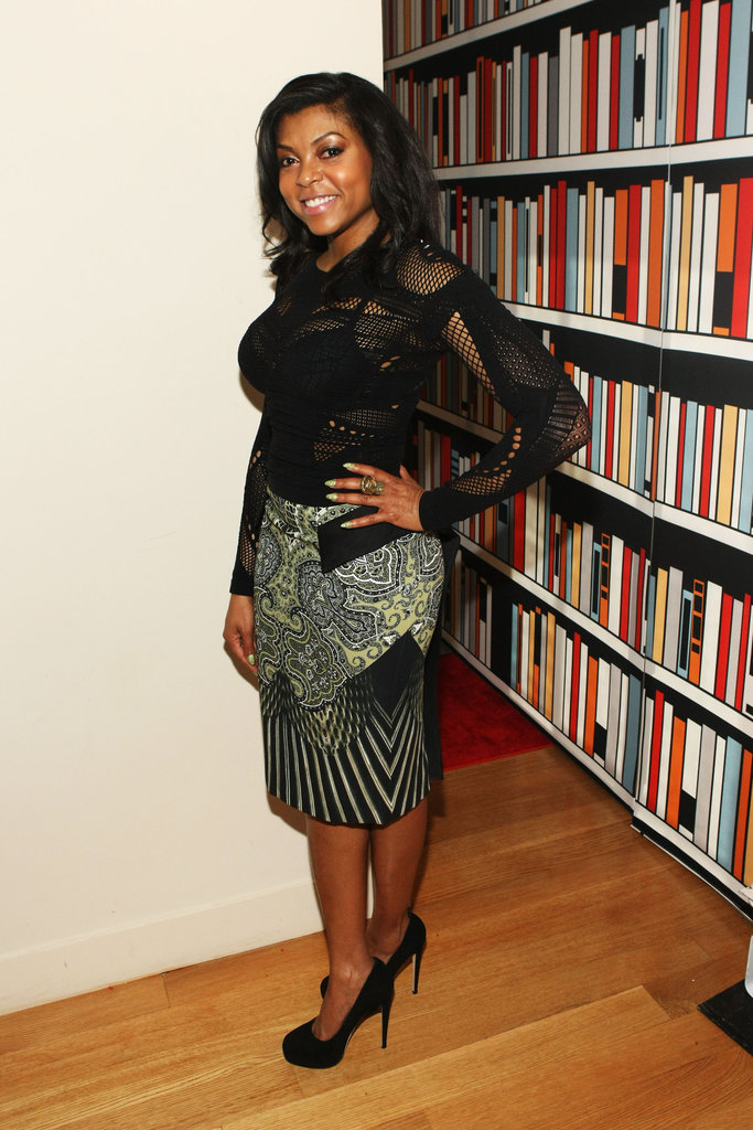 Taraji P. Henson attended the Elle magazine and Google event in a sheer black top and printed pencil skirt.