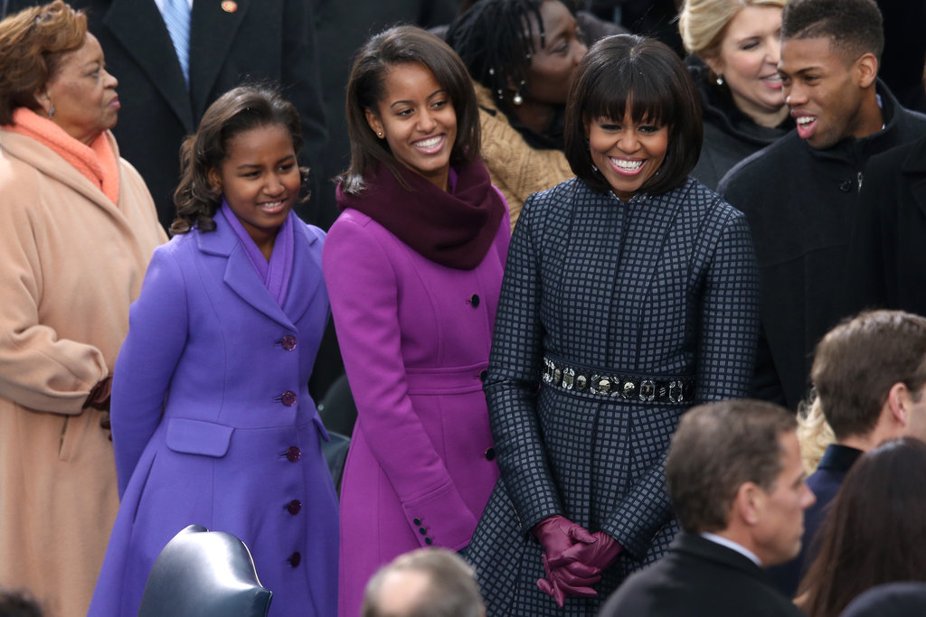 Michelle Obama and daughters Sasha and Malia were all smiles at the inauguration.