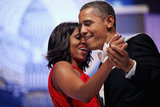The president was singing to Michelle during their first dance.