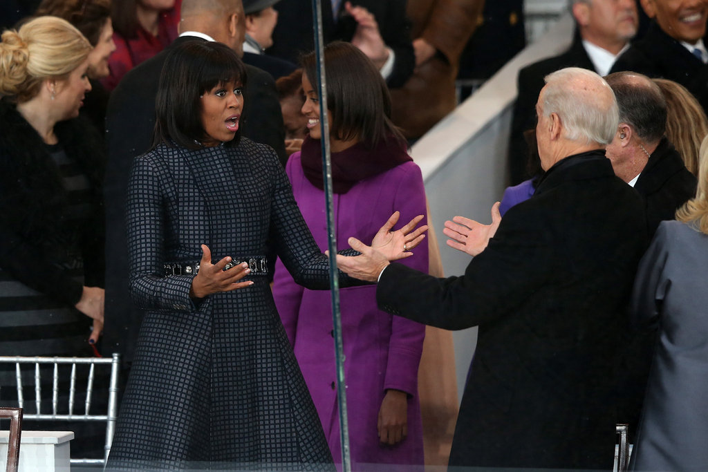 Michelle Obama goofed off with Vice President Joe Biden during the inaugural parade.