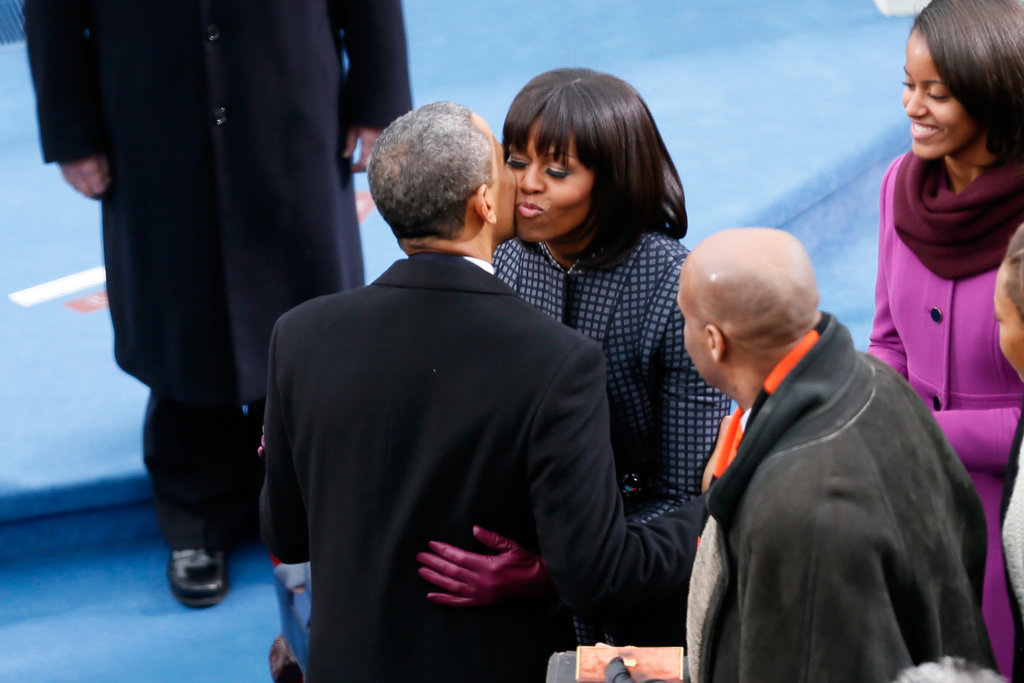 The first couple showed affection during the presidential inauguration.
