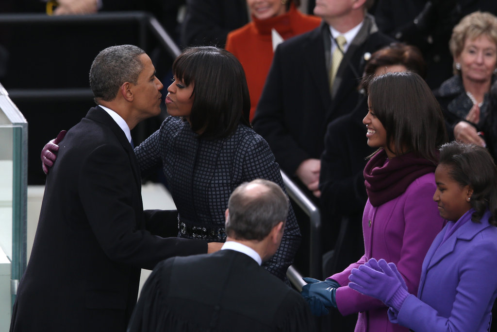 President Barack Obama gave Michelle a kiss after being sworn in during the public ceremony.