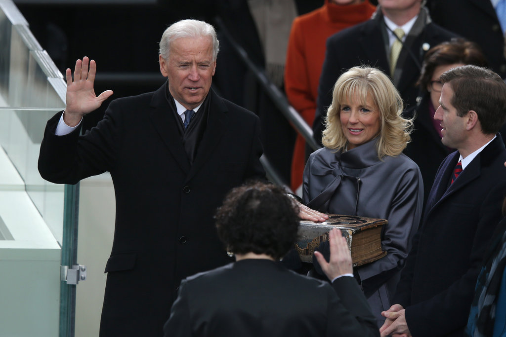 Vice President Joe Biden was sworn in, while his wife, Jill Biden, stood beside him.