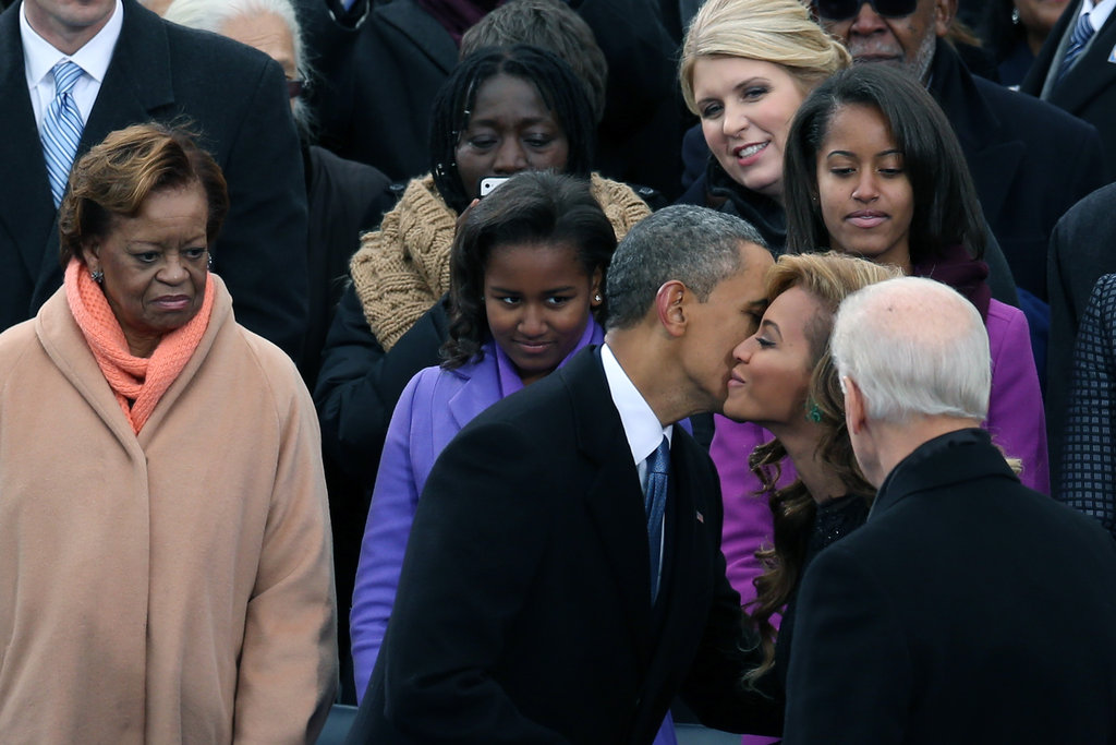 Barack Obama kissed Beyoncé on the cheek.