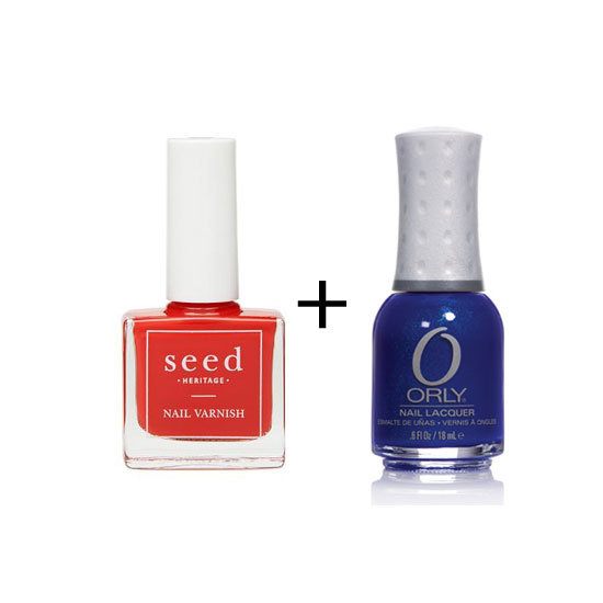 Seed Nail Varnish in Poppy Red ($12.95) + Orly Nail Lacquer in Royal Navy ($10.24)