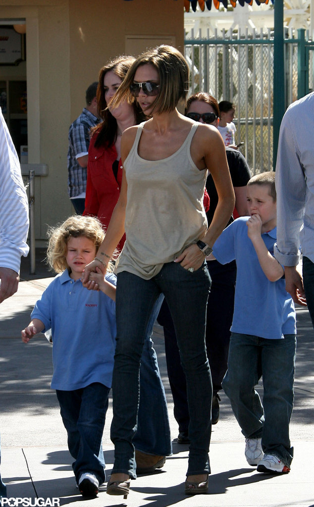 Victoria Beckham took her boys to check out the amusement park in February 2007.