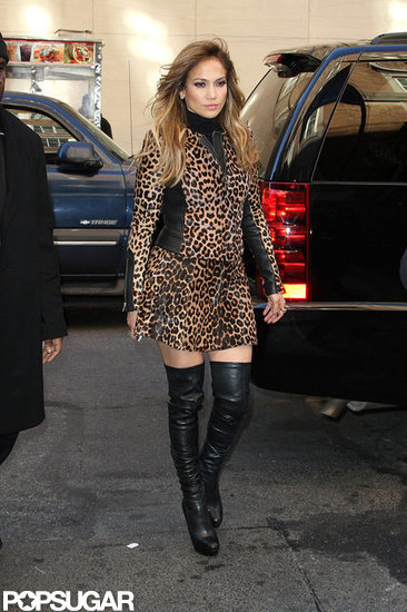 Jennifer Lopez donned a leopard print skirt and jacket in NYC.