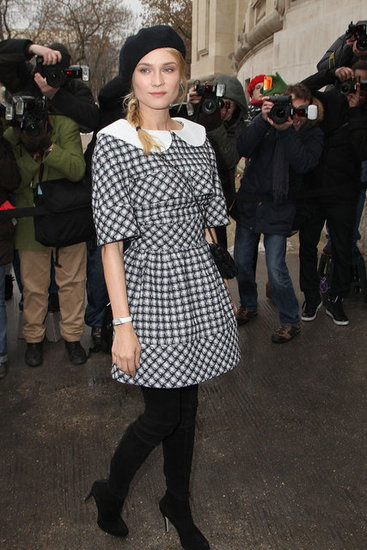 Diane Kruger wore Chanel on Tuesday to the Chanel Spring/Summer 2013 Haute Couture fashion show at the Grand Palais.