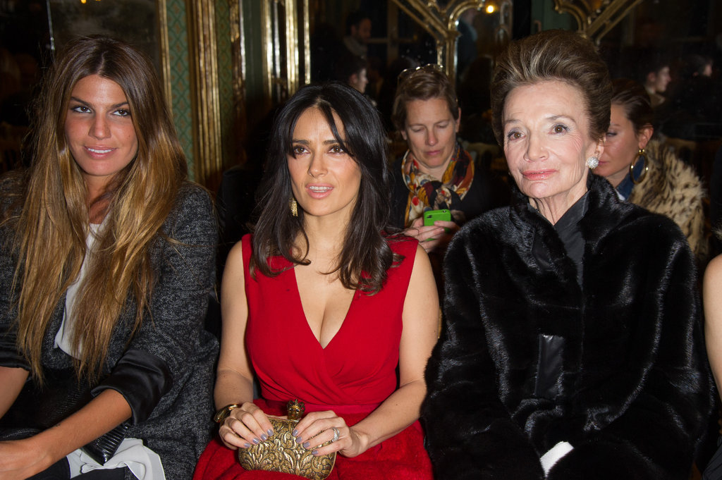 Bianca Brandolini, Salma Hayek and Lee Radziwill sat next to each other at Giambattista Valli.