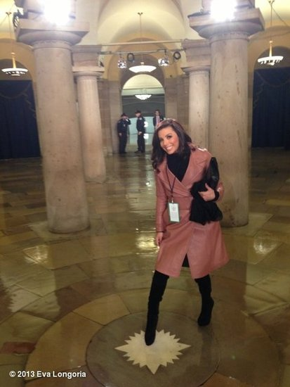 Eva Longoria posed inside the US Capitol building before heading to the Inauguration. Source: Eva Longoria on WhoSay