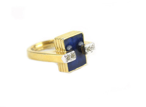 Maybe it's the art deco appeal of this House of Lavande Jomaz blue ring ($498), but the blue enamel and diamante accents are lush enough to be engagement worthy.