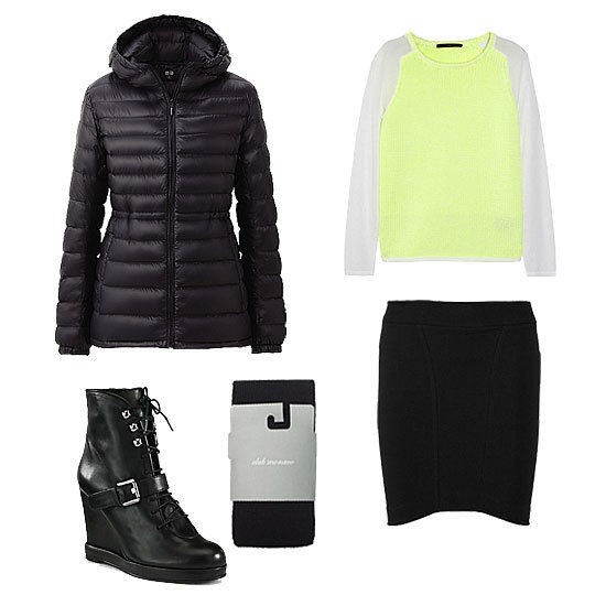 Take note: a puffer can look just as cool with a skirt as it can with your jeans or slicker bottoms. While we would never suggest adding a casual puffy jacket to your dressed-up pieces, it's a perfect addition to a slim-fit miniskirt and a laid-back (but brilliant) knit. Give the whole ensemble a Winter touch with all-purpose lace-up wedges and thick tights. Get the look:  Uniqlo Women's Premium Down Ultra Light Parka ($70) Tibi Neon Chunky and Fine-Knit Sweater ($375) Helmut Lang Cocoon Cotton-Blend Jersey Miniskirt ($140) Club Monaco Striped Merino Tights ($30) Surface to Air Leather Buckle Wedge Ankle Boots ($176, originally $440)