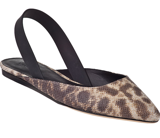 These Vince snake-print slingback flats ($295) would be the perfect finish to an all-black ensemble: denim, tee, blazer.