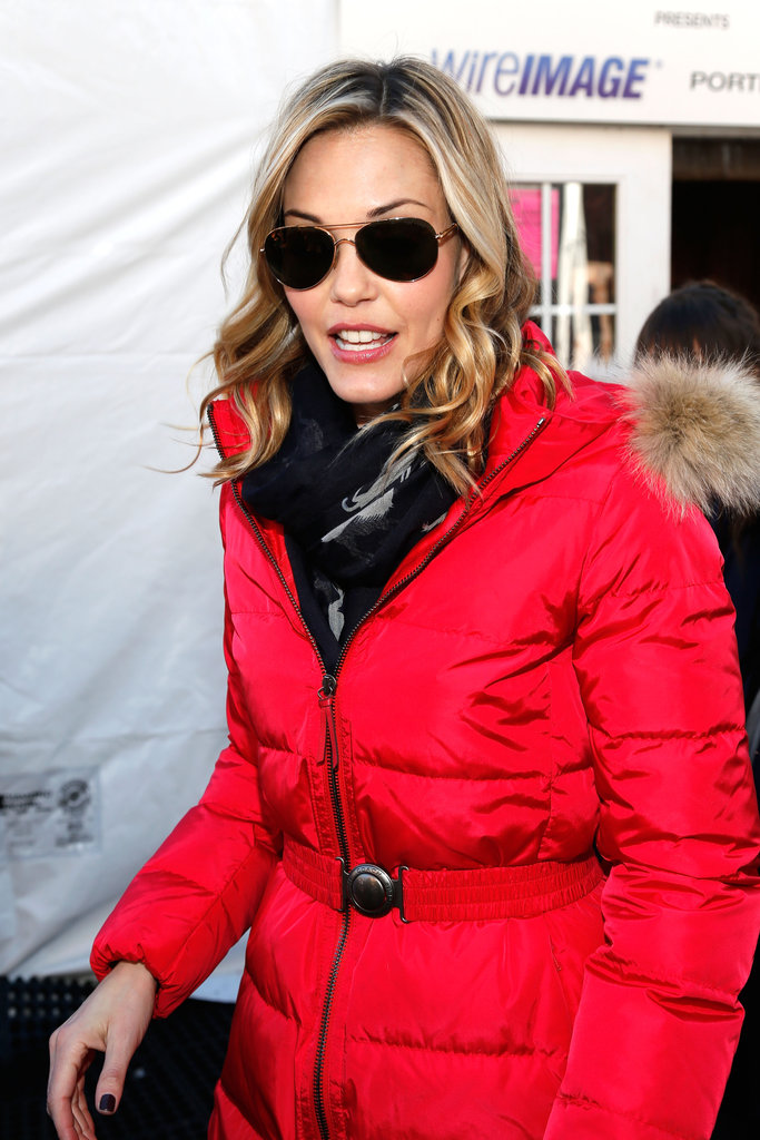 Leslie Bibb's fiery Coach puffer was equal parts toasty and bold.