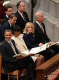 Barack Obama winked during the service.