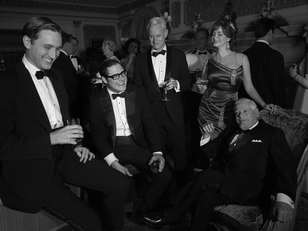 Aaron Stanton, Rich Sommer, John Slattery, Christina Hendricks, and Robert Morse on Mad Men.