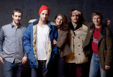 Crystal Fairy's Juan Silva, director Sebastian Silva, Gaby Hoffmann, Agustin Silva and Michael Cera let loose in the portrait studio.
