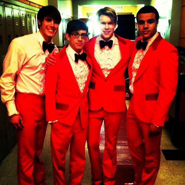 Chord Overstreet gave a sneak peek of his Glee costars looking all dressed up . . . possibly for a prom episode? Source: Instagram user chordover