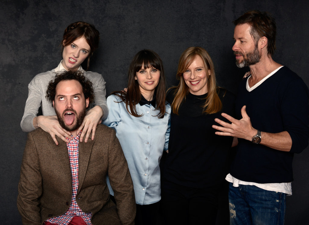 Director Drake Doremus, Mackenzie Davis, Felicity Jones, Amy Ryan, and Guy Pearce goofed off while taking pictures for Breathe In.