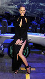 Karolina Kurkova's legs were on display under her revealing black dress.