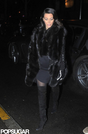 Kim Kardashian wore a fur coat in Paris.