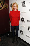 Red seems to be the color of Sundance, as showcased by January Jones in her fiery cable-knit sweater.