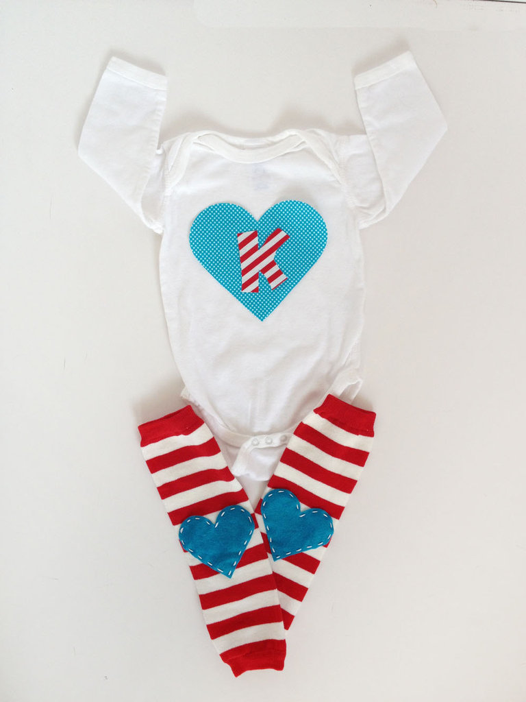 Initial Heart Onesie With Leg Warmers