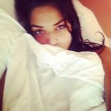 Shanina Shaik took a selfie from her bed. Source: Instagram user shaninamshaik