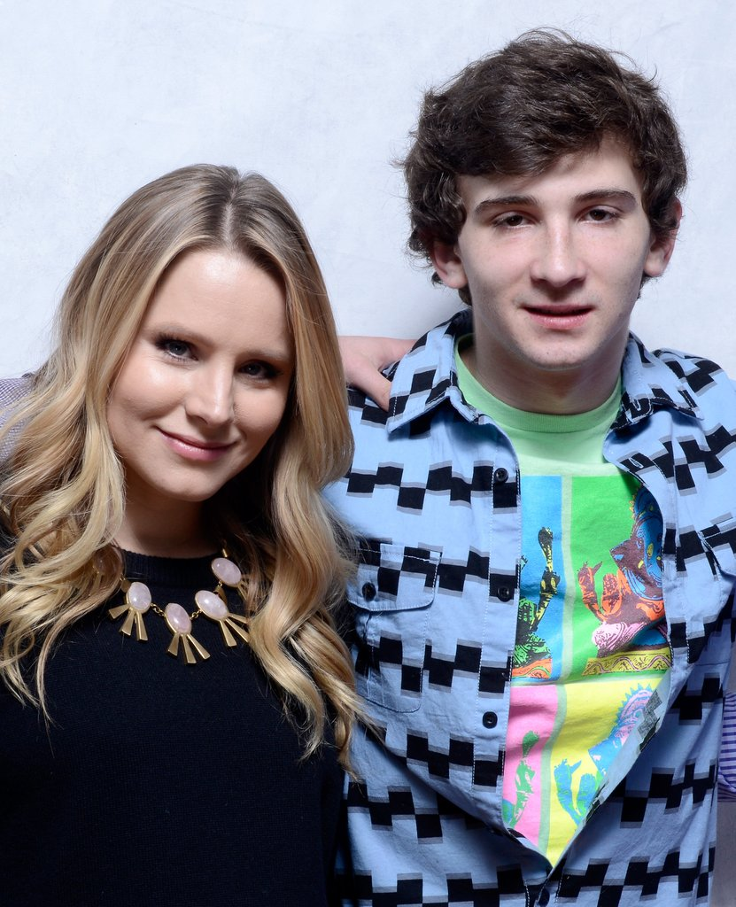 The Lifeguard co-stars Kristen Bell and Alex Shaffer hugged tight for their picture inside the portrait studio.