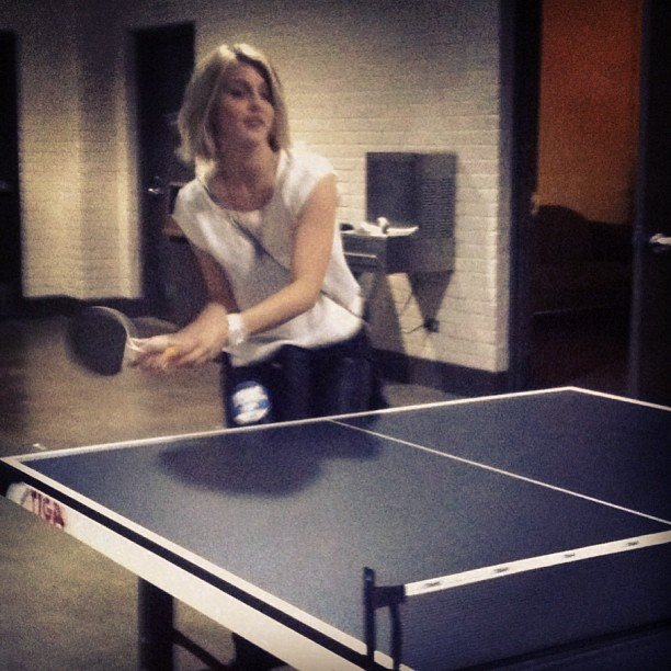 Julianne Hough got to play ping-pong backstage at a Fun. concert (don't you get to do that when you go to Fun. concerts too?). Source: Instagram user juleshough