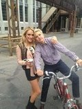 Carly Chaikin chased Ellen DeGeneres down in the Warner Bros. lot. Yep, Ellen rides a bike around the lot. Source: Twitter user carlychaikin