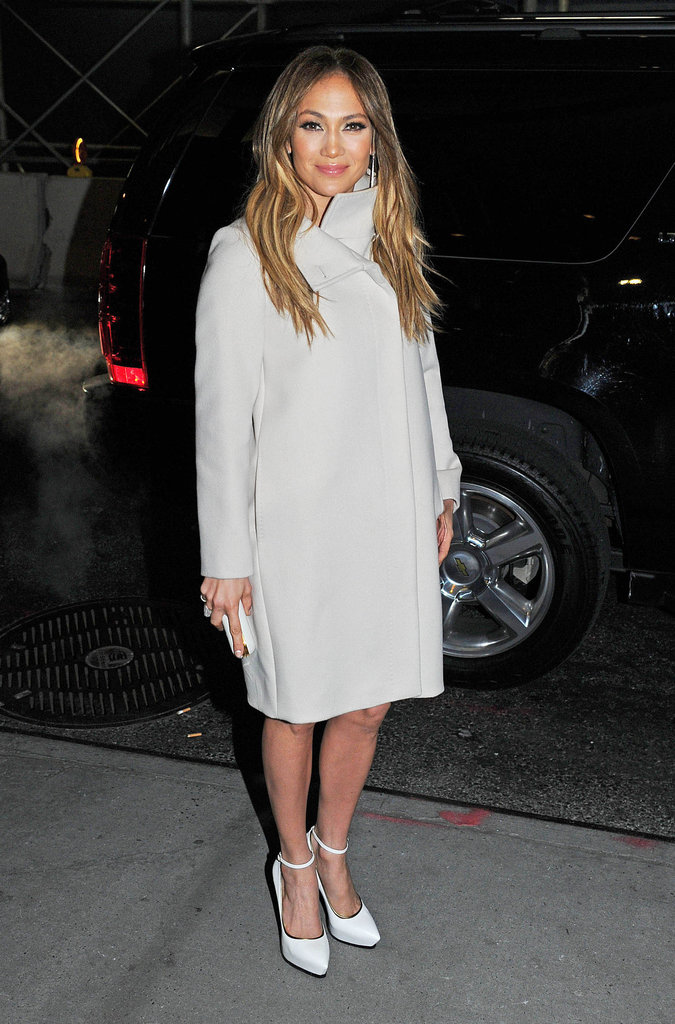 Jennifer Lopez arrived to a screening of Parker in NYC while wearing a white coat.