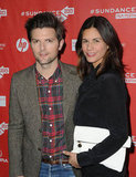 Adam Scott posed with his wife, Naomi Scott, at the premiere of A.C.O.D. at Sundance.